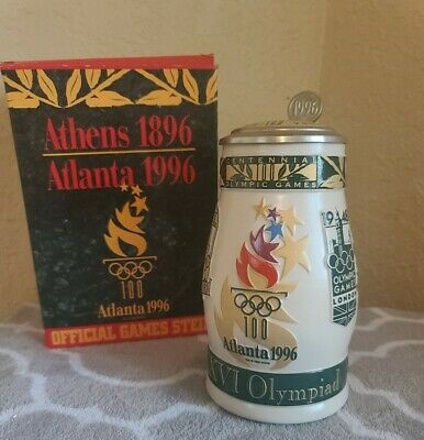 $ CDN42.34 • Buy Anheuser Busch Official Centennial Olympic Games Lidded Stein MUG 1996 Atlanta