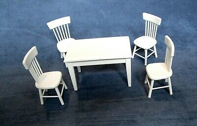 Dolls House Table And 4 Chairs Miniature White Kitchen Dining Room Furniture • 15.99£