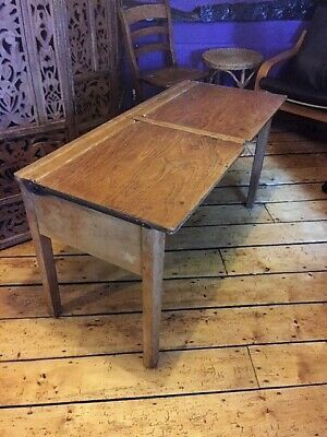 Vintage Double School Desk - Elm Top • 30£