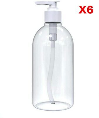 £6.99 • Buy 6 X 500ml Empty Clear PET Refillable Shampoo Bottles With Pump Dispensers