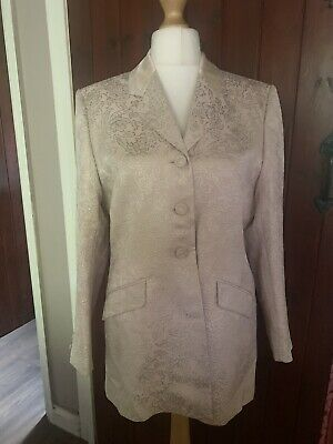 Vintage Viyella Long Jacket Pink Jagard Fabric Size 12 Wedding Races Gorgeous • 30£
