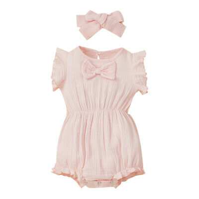 Kids Baby Girl Jumpsuit Romper Tops Ruffle Short Pants Casual Clothes Outfit Set • 11.39£