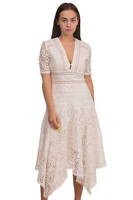 $27.52 • Buy RRP €755 ZIMMERMANN Meridian Dress Size 0 / XS White Embroidered Eyelets V Neck