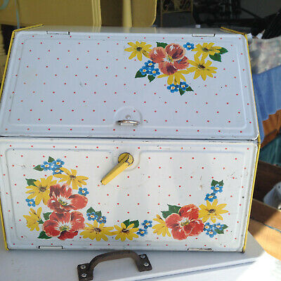 $65 • Buy Vintage Tin Bread Box Two Compartments Yellow Floral