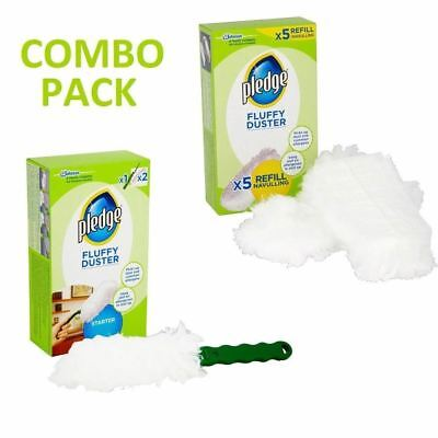 Pledge Fluffy Dusters Starter Kit & Refill Pack Dry Dusting Cleaning Cloth Pack • 7.99£