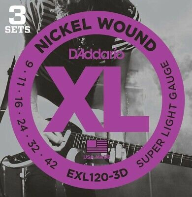 AU29 • Buy D'Addario EXL120 Electric Guitar Strings Super Light 9-42, 3 Sets  - New