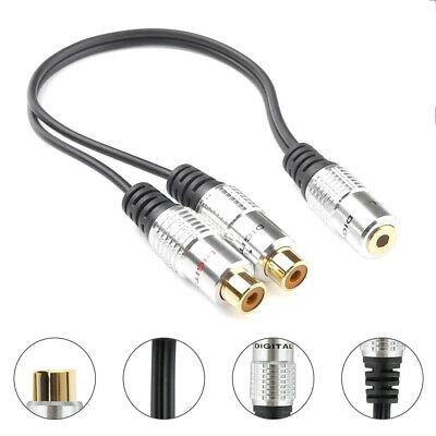 1/8  Audio Cable Mini Stereo Female To 2 RCA Female Jack Splitter Cables 25cm • 4.31£
