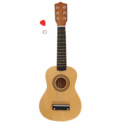 Wood Color 21  Acoustic Guitar Pink W/ 6 String For Children Kids UK Stock • 20.10£