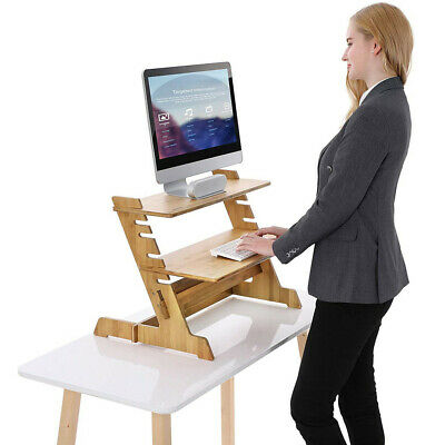 £38.98 • Buy Bamboo Computer Desk Monitor Riser Stand Steady Up Laptop Workstation Converter