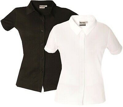 £7.99 • Buy Ladies Short Sleeve Shirt Womens Button Up Plain Office Work Blouse Tops Wicking