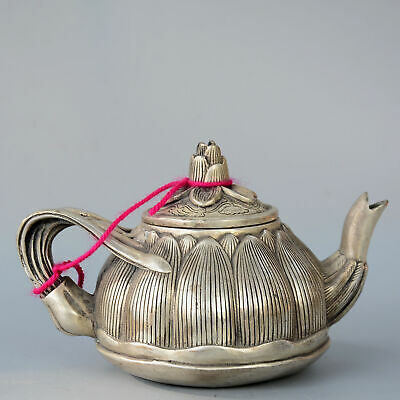 $ CDN0.02 • Buy Collectable China Old Miao Silver Hand-Carved Lotus Shape Unique Delicate Teapot