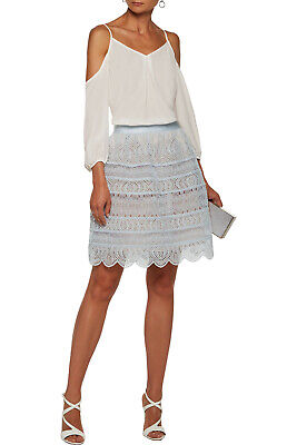 $20.26 • Buy RRP €560 ZIMMERMANN Organza Straight Skirt Size 0 / XS Scalloped Embroidered