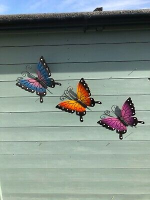 £9.50 • Buy Pack Of 3 Butterfly Decorations Metal Wall Art Indoor Outdoor With Hanging Hook