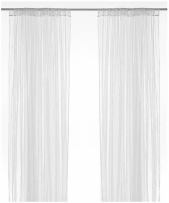 Lill Net Curtains IKEA Long Sheer Floaty White Curtain 280 X 250cm Pack Of 2 • 9.99£