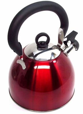 Red Stainless Steel Whistling Kettle 3L Stove Top Hob Kitchenware Tea Camping • 8.99£