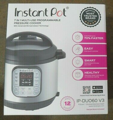 $35 • Buy Instant Pot IP-DUO60 V3 6-Qt 7-in-1 Multi-Use Programmable Pressure Cooker