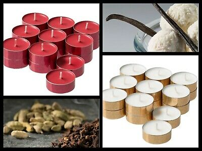 Scented Tealights Candles IKEA MEDGE Sweet Vanilla,Cinnamon Red 4 Hour Burn Time • 4.98£