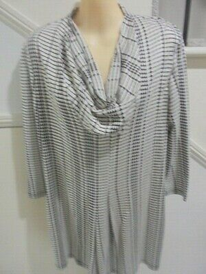AU11.99 • Buy The Clothing Company Size M 14 - 16 Cream Black Lower Pleat Cowl Neck Tunic Top