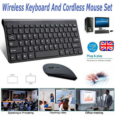 Wireless 2.4GHz Cordless Keyboard And Mouse Set For Computer Laptop Black/Wthie • 10.99£