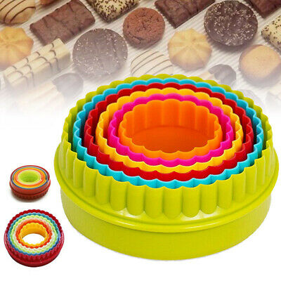 6pcs Twin Edge Cookie Cutters Kit Pastry Biscuit Scone Round Crinkle Diy • 4.45£