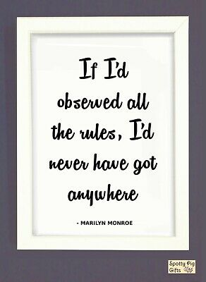 Print Marilyn Monroe Quote Rules Wall Art Framed Picture Poster Film Icon A3 A4 • 4.95£