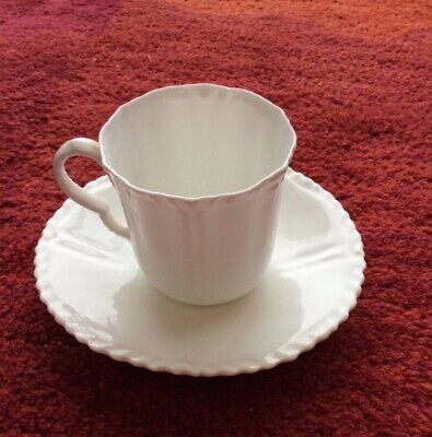 Crown Staffordshire Pretty Small White Coffee Cup & Saucer Frilly Edge Perfect • 10£