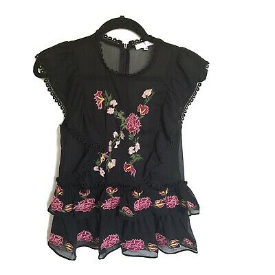$ CDN30 • Buy Anthropologie Lulumari Embroidered Ruffled Top Size Small Black NWOT