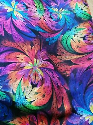 Premium Poly Viscose Fabric By The Half Metre  Flower Feather Colourful • 6.95£