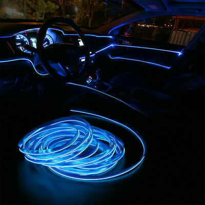 6.5FT LED Car Interior Decor Atmosphere Wire Strip Blue Light Lamp Accessories • 6.63£