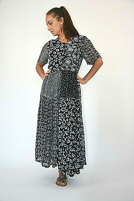 New Womens Black With Grey Floral Patchwork Print Chiffon Midi Dress Size 10-16 • 8£