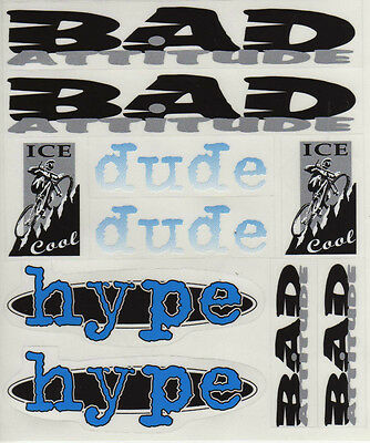 £5 • Buy Bmx Bike Bicycle Stickers Decals Transfers - Set Of 10 - Bad Attitude Dude Hype