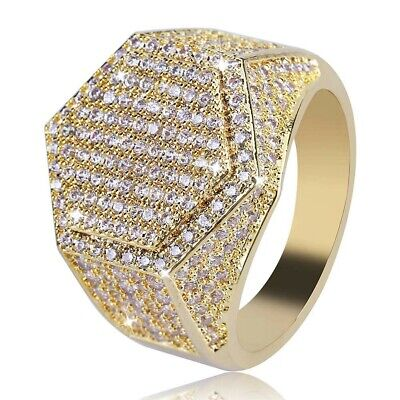 $9.99 • Buy Frosted Ice Bling Bling Ring Men Rapper Hip Hop Jewelry Gold IP Simulate Diamond