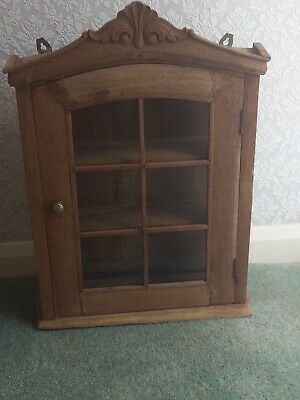 £40 • Buy Rustic Shabby Chic Indonesian Solid Wood Glazed Wall Cupboard Display Cabinet