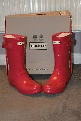 Hunter Wellies, Size 6, Hi Gloss Pink, Short, New With Box • 26£