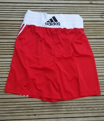 ADIDAS Boxing Shorts, Medium, Red With White Trim, Worn Once • 8£