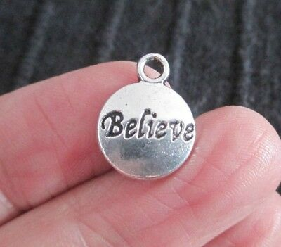 £2.50 • Buy Pack Of 20 Antique Silver BELIEVE Pendant Charms 15mm X 12mm Christmas