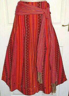 PER UNA Long Red Embroidered Dressy Fit & Flare Summer Gypsy Boho Skirt Size 16 • 3.19£