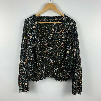 AU24.95 • Buy City Chic Womens Blouse Top Size XL Multicoloured Floral Long Sleeve Ring Detail