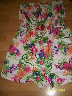 Lovely Floral Bandeau Ladies Playsuit Peacocks Sizs L=16-18 • 1£