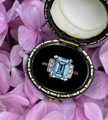 Art Deco Aquamarine And DIamond Platinum Ring 0.15ct + 2.20ct Aquamarine • 975£