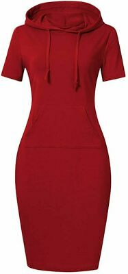 $ CDN17.75 • Buy Clearlove Women's Red Pocket Knee Length Slim Pullover Hoodie Dress Short Sleeve