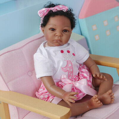 $ CDN72.58 • Buy 22  Reborn Baby Dolls Cloth Body Girl Silicone Vinyl Black African American Gift