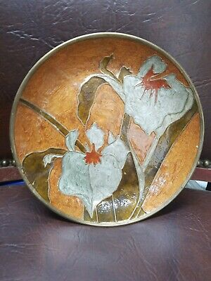 Vintage Solid Brass  Made In India Enamel Plate Floral  • 10.12£
