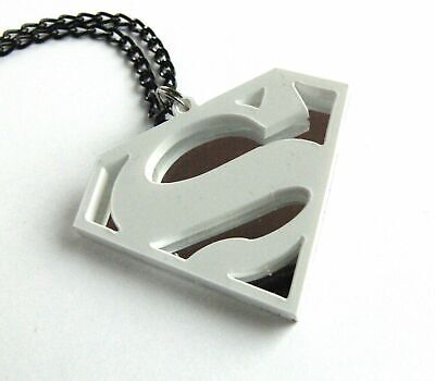 Superman Necklace Laser Cut White And Mirror Plastic • 13.48£