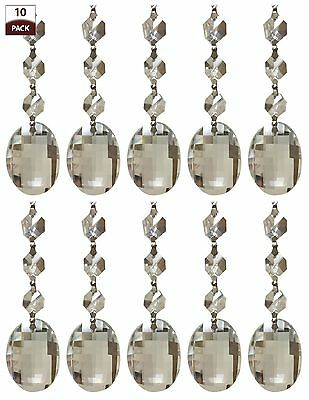 £13.45 • Buy 10 PK Chandelier Replacement Crystal Prisms Clear Oblate Cut