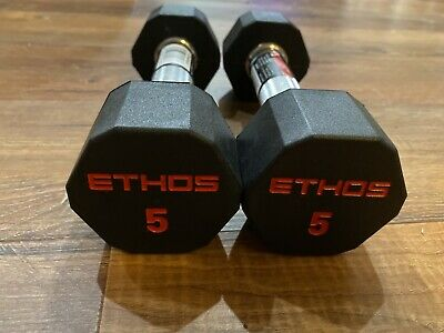 $ CDN63.02 • Buy NEW ETHOS 5 Lb Pair (10lb) Hex Dumbell Rubber Weight Set Premium Crossfit