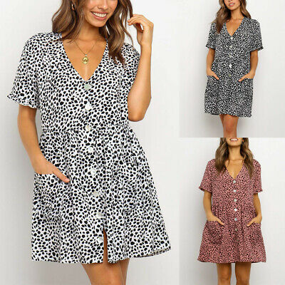 Women V-neck Holiday Mini Dress Ladies Short Sleeve Dress Summer Beach Polka Dot • 8.95£