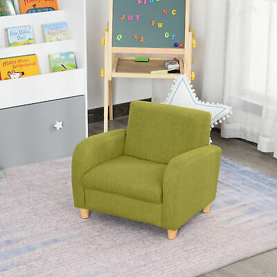 £45.99 • Buy HOCMOM Linen Child Armchair Wood Frame W/ Padding Seat Low-Rise Bedroom Green