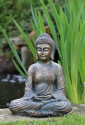 Garden Ornament Sitting Buddha Stone Zen Effect Outdoor Indoor Statue Thai • 21.95£