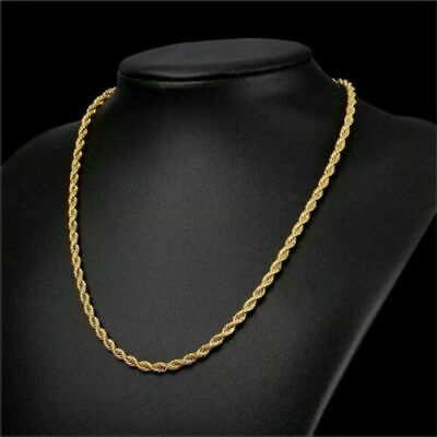 $164.99 • Buy 18K Solid Gold Rope Chain Necklace Men Women 10  16  18  20  22  24  26  28  30